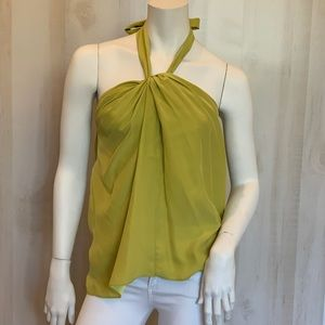 Alice + trixie 100% silk lime green halter top XS